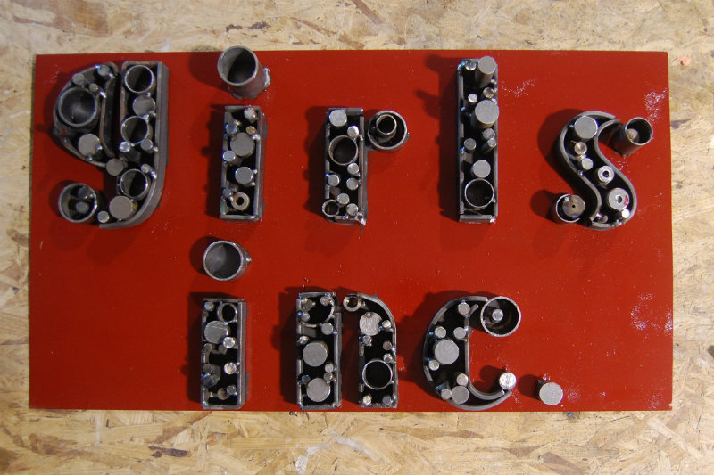 The sign the girls welded and fabricated with JC Designs